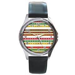 Christmas Ribbons Christmas Gold Round Metal Watch