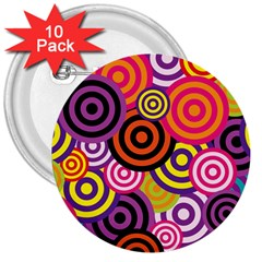 Abstract Circles Background Retro 3  Buttons (10 Pack)