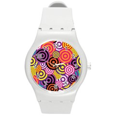 Abstract Circles Background Retro Round Plastic Sport Watch (m)