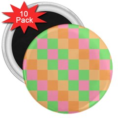 Checkerboard Pastel Squares 3  Magnets (10 Pack)