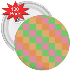Checkerboard Pastel Squares 3  Buttons (100 Pack)