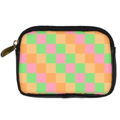 Checkerboard Pastel Squares Digital Camera Leather Case by Pakrebo