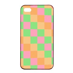Checkerboard Pastel Squares Apple Iphone 4/4s Seamless Case (black) by Pakrebo