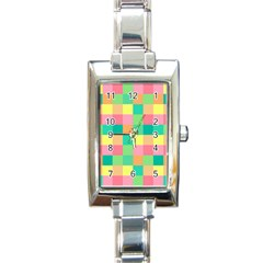 Checkerboard Pastel Squares Rectangle Italian Charm Watch