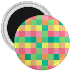 Checkerboard Pastel Squares 3  Magnets by Pakrebo