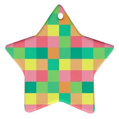Checkerboard Pastel Squares Ornament (star)