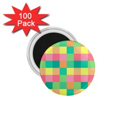 Checkerboard Pastel Squares 1 75  Magnets (100 Pack)  by Pakrebo