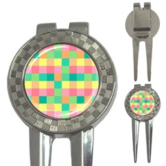 Checkerboard Pastel Squares 3 In 1 Golf Divots