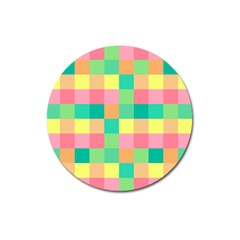 Checkerboard Pastel Squares Magnet 3  (round) by Pakrebo