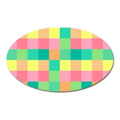 Checkerboard Pastel Squares Oval Magnet by Pakrebo