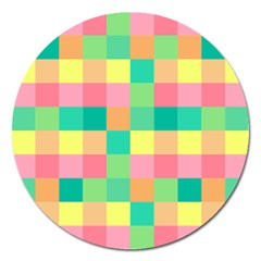 Checkerboard Pastel Squares Magnet 5  (round) by Pakrebo