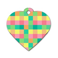 Checkerboard Pastel Squares Dog Tag Heart (two Sides)