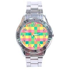 Checkerboard Pastel Squares Stainless Steel Analogue Watch