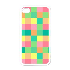 Checkerboard Pastel Squares Apple Iphone 4 Case (white) by Pakrebo
