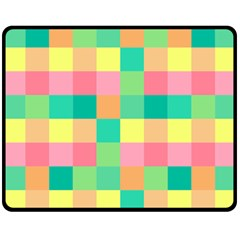 Checkerboard Pastel Squares Double Sided Fleece Blanket (medium)