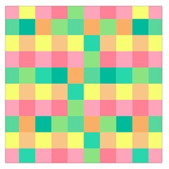 Checkerboard Pastel Squares Large Satin Scarf (square)
