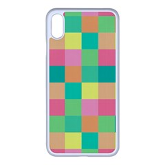 Checkerboard Pastel Squares Apple Iphone Xs Max Seamless Case (white) by Pakrebo