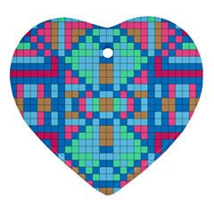 Checkerboard Squares Abstract Heart Ornament (two Sides)