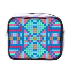 Checkerboard Squares Abstract Mini Toiletries Bag (one Side)