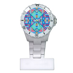 Checkerboard Squares Abstract Plastic Nurses Watch