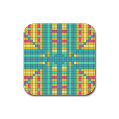 Checkerboard Squares Abstract Rubber Coaster (square)