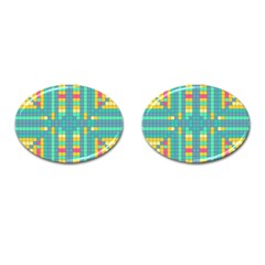 Checkerboard Squares Abstract Cufflinks (oval) by Pakrebo