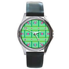 Checkerboard Squares Abstract Round Metal Watch