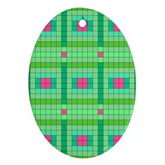 Checkerboard Squares Abstract Oval Ornament (two Sides)