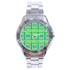 Checkerboard Squares Abstract Stainless Steel Analogue Watch by Pakrebo