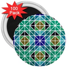 Mosaic Triangle Symmetry 3  Magnets (100 Pack) by Pakrebo