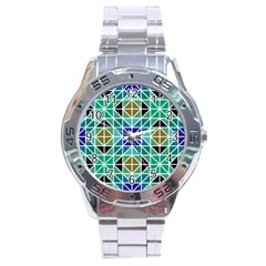 Mosaic Triangle Symmetry Stainless Steel Analogue Watch