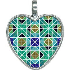 Mosaic Triangle Symmetry Heart Necklace