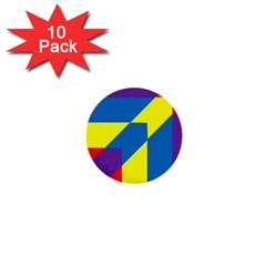 Colorful Red Yellow Blue Purple 1  Mini Buttons (10 Pack)