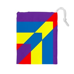 Colorful Red Yellow Blue Purple Drawstring Pouch (large)
