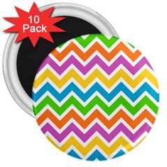 Chevron Pattern Design Texture 3  Magnets (10 Pack)  by Pakrebo