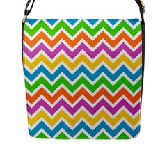 Chevron Pattern Design Texture Flap Closure Messenger Bag (l) by Pakrebo