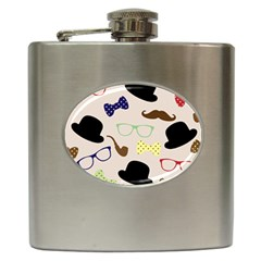 Moustache Hat Bowler Bowler Hat Hip Flask (6 Oz)