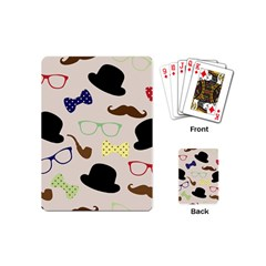 Moustache Hat Bowler Bowler Hat Playing Cards (mini)