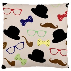 Moustache Hat Bowler Bowler Hat Large Cushion Case (one Side)