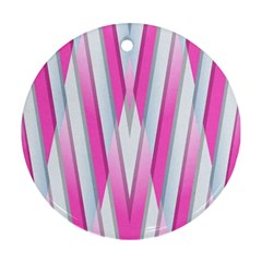 Geometric 3d Design Pattern Pink Round Ornament (two Sides)