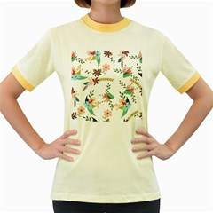 Floral Backdrop Pattern Flower Women s Fitted Ringer T Shirt