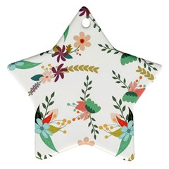 Floral Backdrop Pattern Flower Star Ornament (two Sides)