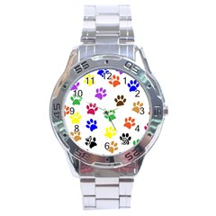 Pawprints Paw Prints Paw Animal Stainless Steel Analogue Watch by Pakrebo