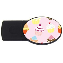 Cupcakes Wallpaper Paper Background Usb Flash Drive Oval (4 Gb)