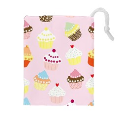 Cupcakes Wallpaper Paper Background Drawstring Pouch (xl)