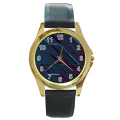 Glass Scifi Violet Ultraviolet Round Gold Metal Watch by Pakrebo