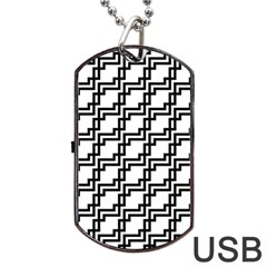 Pattern Monochrome Repeat Dog Tag Usb Flash (one Side) by Pakrebo
