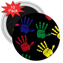 Handprints Hand Print Colourful 3  Magnets (10 Pack)