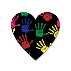 Handprints Hand Print Colourful Heart Magnet by Pakrebo