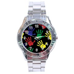 Handprints Hand Print Colourful Stainless Steel Analogue Watch